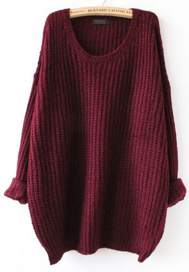 Red Long Sleeve Loose Sweater