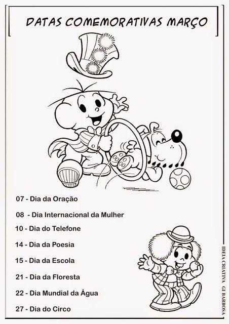 """ATELIÊ CANTINHO DA EDUCAÇÃO INFANTIL: CALENDÁRIO COM DATAS COMEMORATIVAS: """"JANEIRO À DEZEMBRO"""" TURMA DA MÔNICA"""
