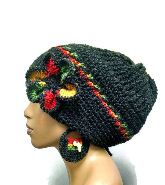Charcoal Grey slouch hat/Dreadlock hat with rasta by ScarFanatic, $40.00