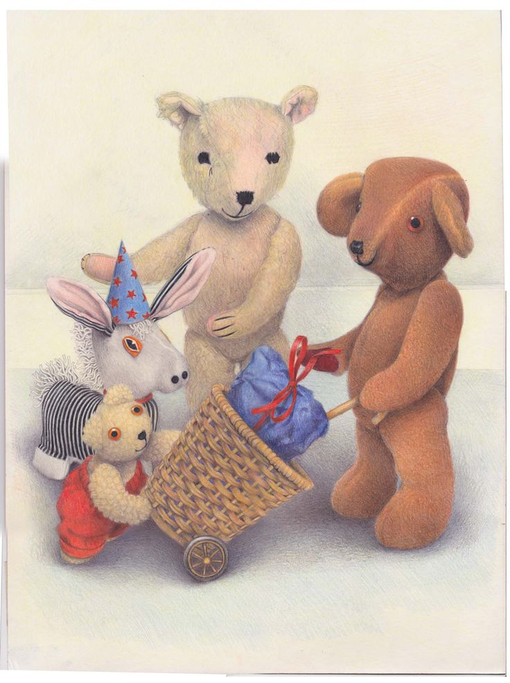The Illustration Cupboard-Old Bear and friends with toys by Jane Hissey