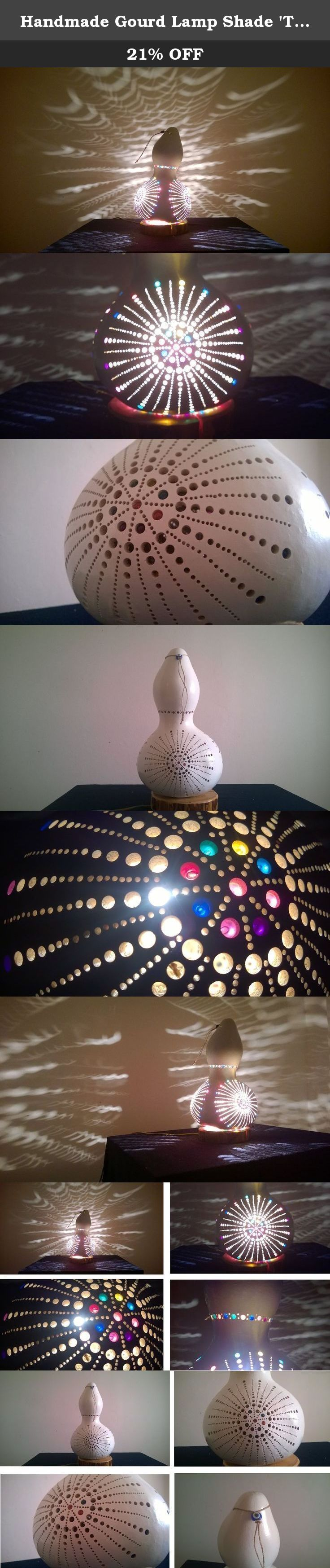 Handmade Gourd Lamp Shade 'The Three Sunrises' Medium Size. Welcome. My objective is to send you a unique, truely handmade, authentic product from the Mediterranean with a reasonable cost. So please read the next three pharagraphs carefully before making a decision. I work with selected farmers who water calabash excessively (the main material) and feed them with goat based fertilisers so that they grow up strong and thick. But when it comes to shipping, they are delicate, fragile and...