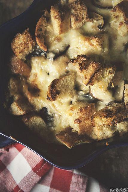Savory Mushroom and Gruyere Bread Pudding