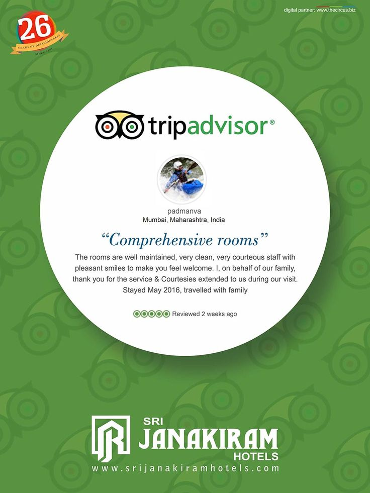 "#Happy_Customer ""COMPREHENSIVE ROOMS"" was an happy review given by our valuable customer Mr.Padmanva, Mumbai. We are really blessed to have a guest like you who prefer staying with us. We look forward to host you again. Thank you once again. Know more reviews now at:www.TripAdvisor.in/sri_janakiram_hotels  #srijanakiram #tripadvisor #tirunelveli"