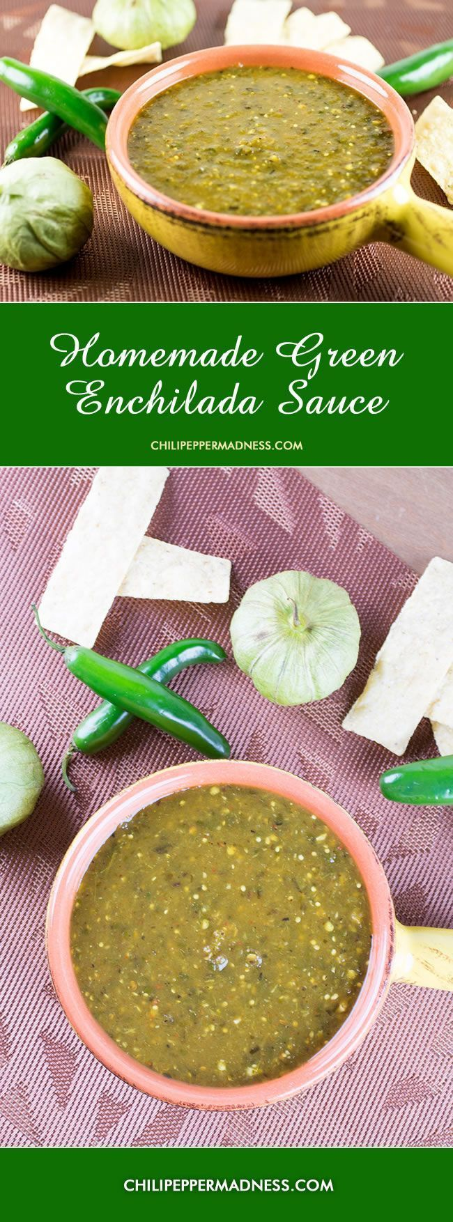 Homemade Green Enchilada Sauce with Roasted Tomatillos from ChiliPepperMadness.com #enchiladas #sauce #enchiladasauce #tomatillos #mexican #mexicansauce