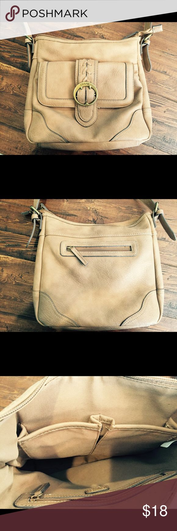 """Chaps Crossbody Bag This bag holds a lot!  Beige Chaps Western bag.  Large interior with two open pockets and one zippered pocket.  Outside pocket under flap and additional zippered pocket on back of bag.  Adjustable strap - 54"""" in total length.  Non-smoking home. Chaps Bags Crossbody Bags"""