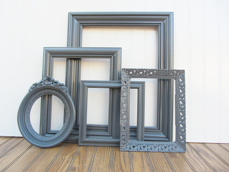 clearance gray painted frame set of 5 dark gray upcycled ornate vintage gallery wall frame set
