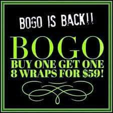 Who is claiming BOGO ⁉️  1 for $25    2 for $50    3 for $75    8 for $59   Ends tonight!! That's $200 worth of Wraps for only $59‼️ WOW! Don't miss this deal! alyssaspencer•myitworks•com