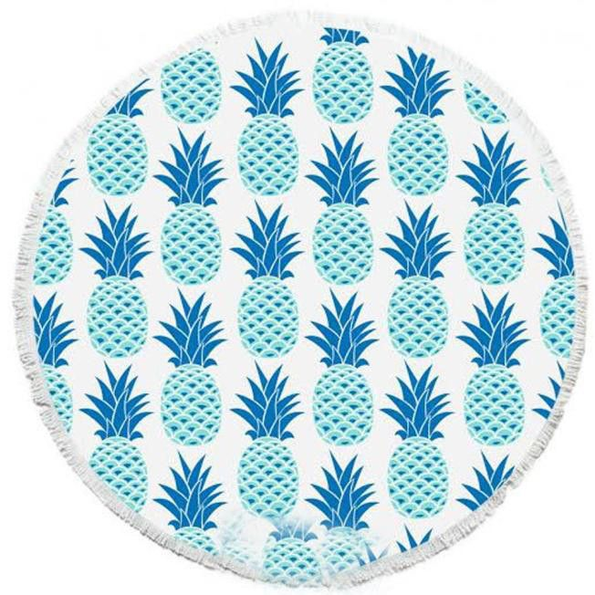 2016 New Summer Large Blue pineapple printed Round Beach Towels With Tassel Circle Beach Towel Serviette De Plage Free shipping