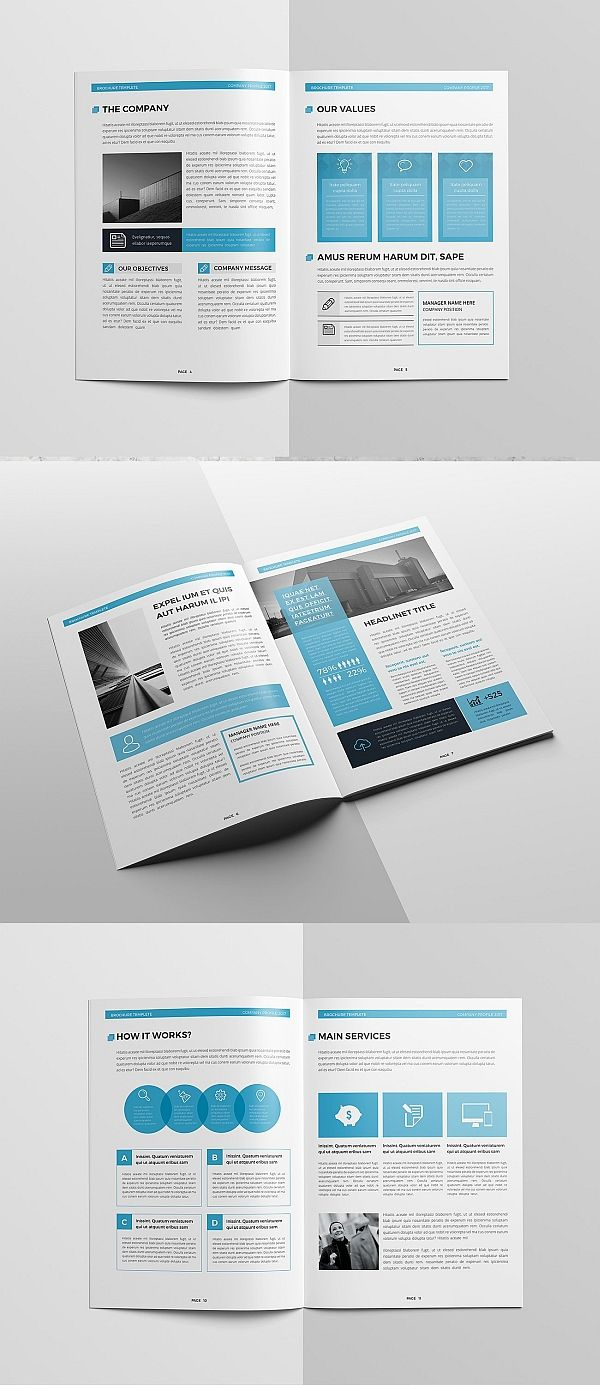 Blue Company Profile 16 Pages | Brochure Templates | Pinterest ...