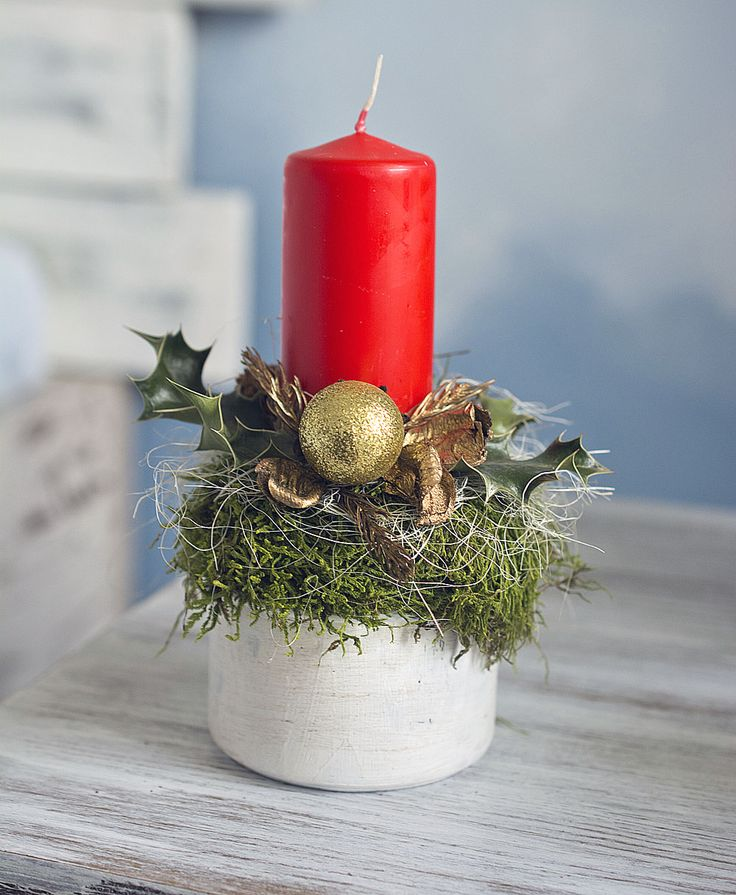 Christmas decor, mini candleholder, red candle, red&gold  https://www.facebook.com/kvetinovyobchodik/?fref=ts