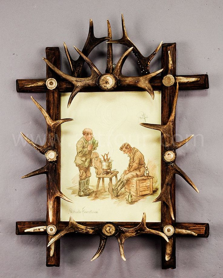 black forest antler picture frame with print by geilfus | antler ...