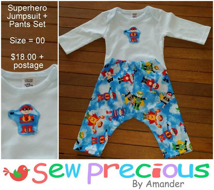 Handmade by Sew Precious By Amander Matching superhero jumpsuit and pants set
