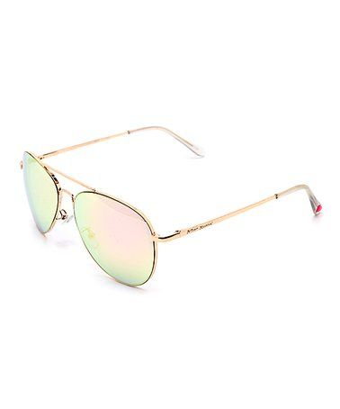 Rose Gold Aviator Sunglasses #zulily #zulilyfinds