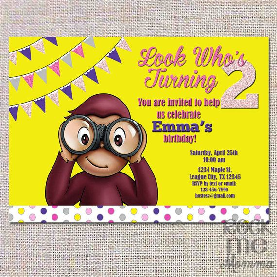 Pink Glitter Curious George Girl Birthday by RockMeMommaShop