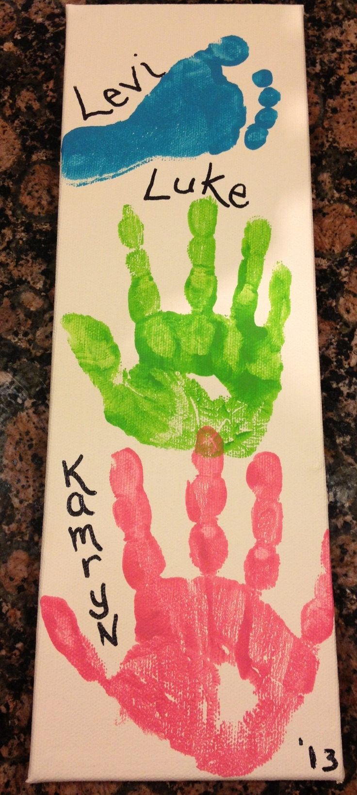 Father's Day gift OR kid memory arts  crafts project on canvas. Big kid hand prints  baby's footprint :)