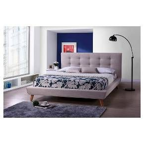 Jonesy Scandinavian Style Mid-Century Fabric Upholstered Platform Bed - Baxton Studio
