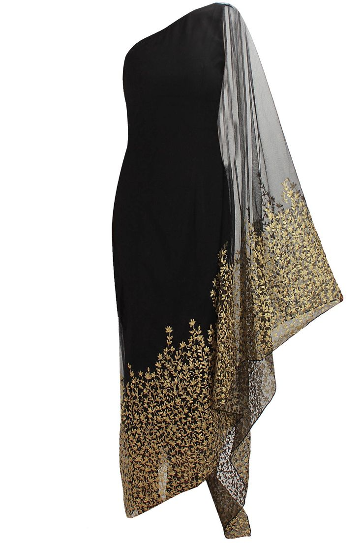 Black floral embroidered kaftan saree with black net churidaar available only at Pernia's Pop Up Shop.