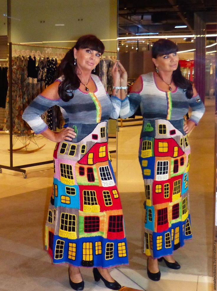 """Купить Летнее платье """"ХУНДЕРТВАССЕР""""-3 хлопок - рисунок, Анна Лесникова, трикотаж от кутюр"""