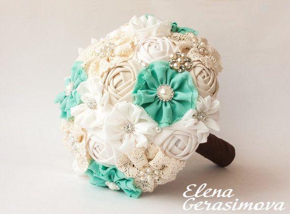 Brooch Bouquet. Ivory Mint Fabric Bouquet, Vintage Bouquet, Rustic Bouquet, Unique Wedding Bridal Bouquet