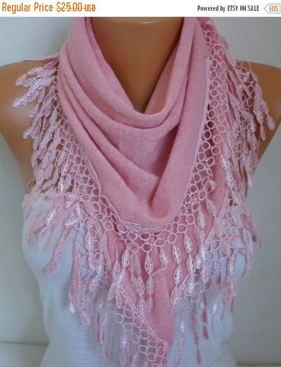#Pink Knitted #Scarf Shawl Lace Oversized #Bridesmaid by fatwoman