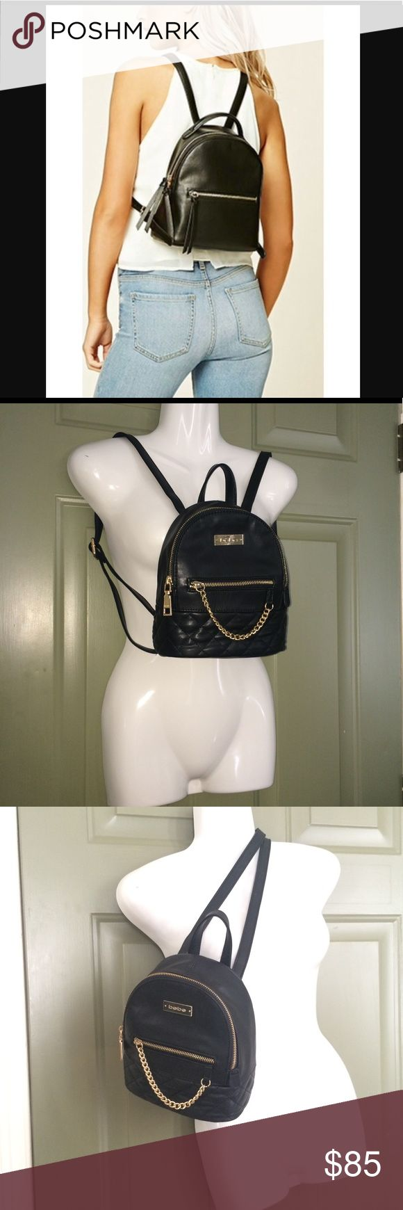 "💗CUTE BEBE MINI PURSE BACKPACK Black SHOULDER BAG 💗SUPER CUTE BEBE MINI PURSE BACKPACK 💗LOTS OF COMPLIMENTS 💗VERY VERSATILE 💗NEW WITH TAGS. NICE GOLD TONE. OUTSIDE&INSIDE POCKET QUILTED BOTTOM Black VEGAN FAUX LEATHER  ❤️Retails for about $85w/Tax  Aprox Height 8.5"" Width 7.5"" Depth 4"" *1st &last pics Not mine,for Styling purposes Only,similar bag. * TAG:shoulder bag,handbag,back pack,festival concert,Kate spade,Brandy Melville,Michael Kors,Julian,bow,unif,Rebecca minkoff,betsey…"