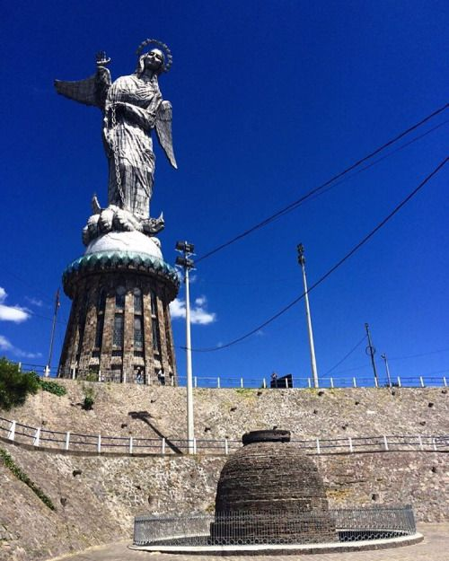 The Virgen de Quito statue generated a lot of controversy, as it was erected on sacred pagan grounds (plus, it is arguably ugly as sin!) #Ecuador #Quito #ElPanecillo #RTW #JulesVernex2 More on our stay in Ecuador on our travel blog julesvernex2.wordpress.com