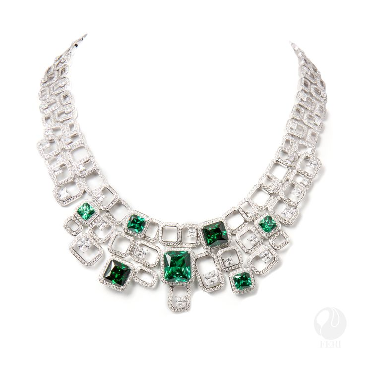 "FERI - Romantic Pathway - Necklace - Exclusive FERI 950 Siledium silver  - Set with exclusive FERI Swan cut lab stones - Colour: white and emerald colour - Dimension: Inner length 140mm (5.5""), outer length 190mm (7.5""), Min width 20mm (0.8"") Max width 45mm (1.8""), with 95mm extender (3.8"") - Wt. 120/gm wt - Emerald-SQ.2-7MM,2-8MM, 2-10MM, Octagon.1-13X15MM - white-SQ.18-2MM,17-3MM, 9-4MM,4-5MM,2-6MM  www.gwtcorp.com/ghem or email fashionforghem.com for big discount"