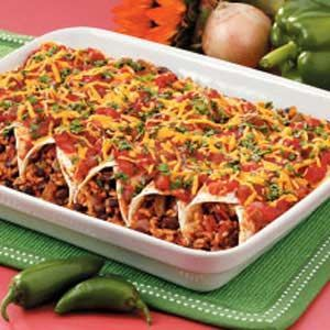 Black Bean and Rice Enchiladas Recipe (Taste of Home) Kinda healthy no meat anyway!
