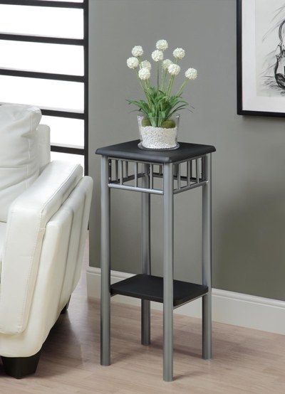 Monarch Specialties Black Silver Metal Plant Stand Home Furniture And Patio Modern