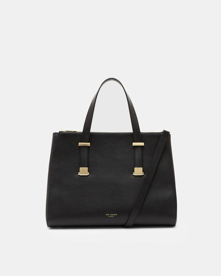 Large leather pebble grain tote bag - Black | Bags | Ted Baker