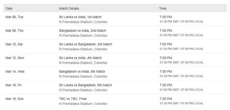T20 Tri-Series Schedule - India and Bangladesh in Sri Lanka 2018  #India #bangaladesh #srilanka #NIDAHASTrophy2018 #cricket #icc #t20 #MahmudullahRiyad #RohitSharma #DineshChandimal #Schedule