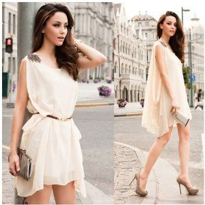 1pc Free Shipping 2013 Summer Sexy Fashion Sleeveless Sundress w/ Belt for Women OL Lady Girl Chiffon Casual Mini Dress Solid Free Size BJF1-J-1