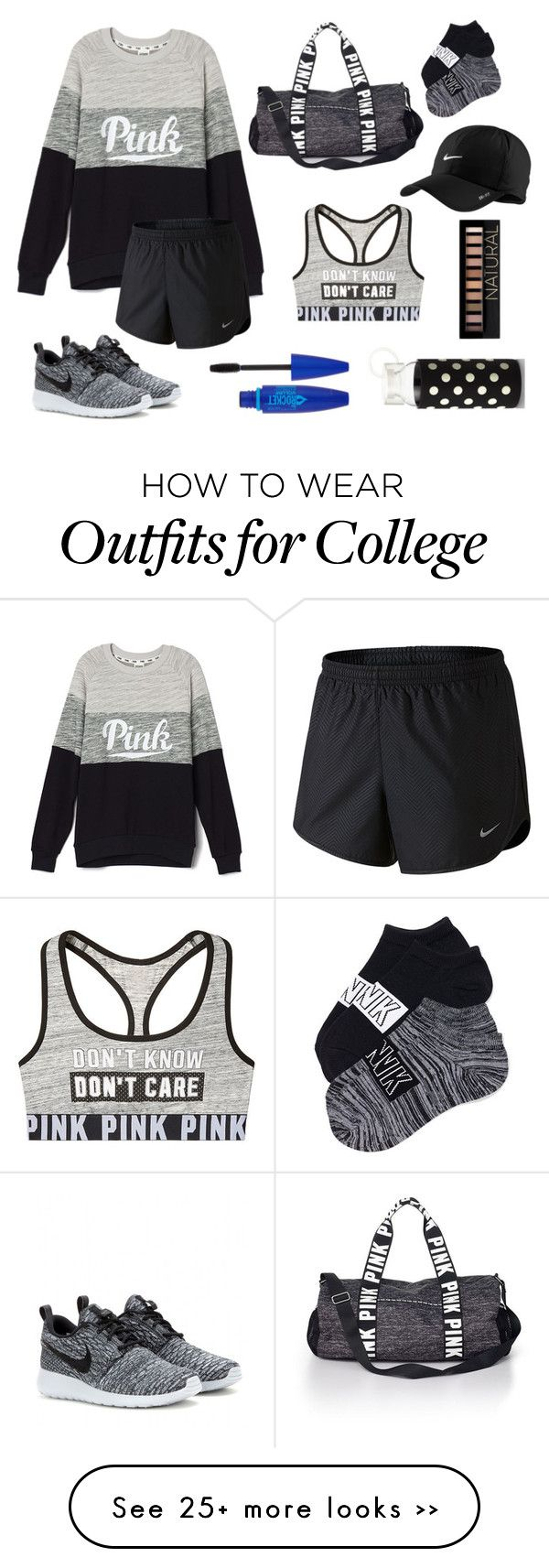 """Pink>black"" by averyadamss on Polyvore featuring NIKE, Victoria's Secret PINK, Kate Spade, Maybelline and Forever 21"