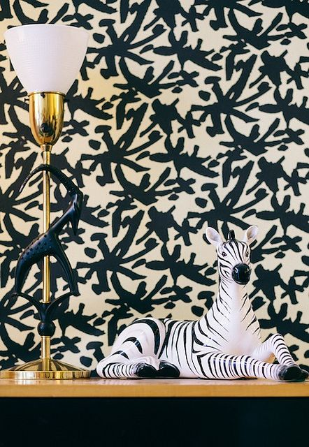 Juju Black and Gold Vignette_Ted Nghiem | Flickr - Photo Sharing!   DIY wall treatment?