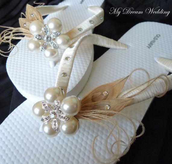 Ivory Flip Flops Champagne Ivory Peacock by MyDreamWedding on Etsy, $40.49