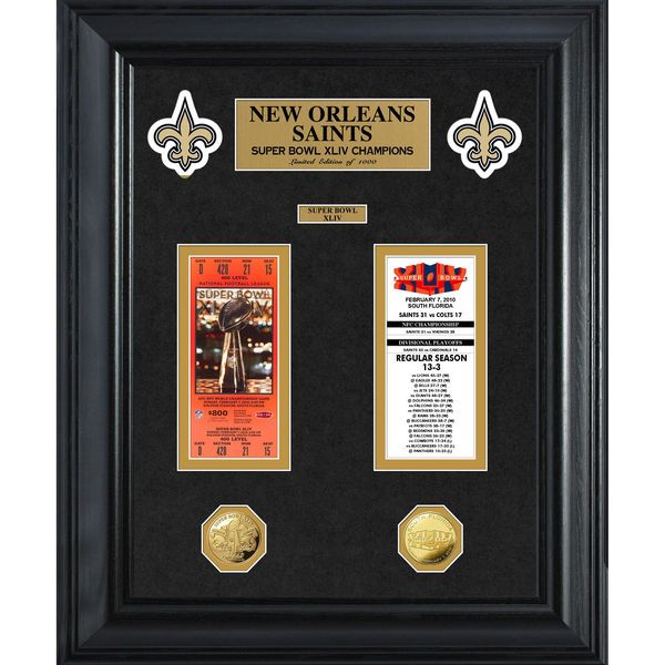 New Orleans Saints Super Bowl Ticket and Game Coin Collection Framed - $149.99