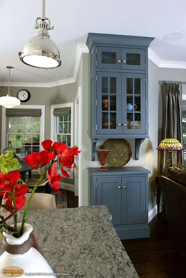 Blue Cabinets With Glass Doors.
