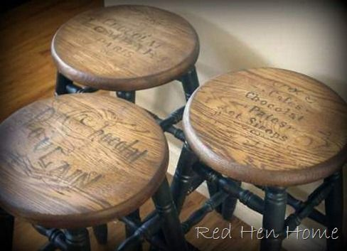 Vintage French ads painted onto yardsale stools. Red Hen Home is a great site with lots of fun projects.