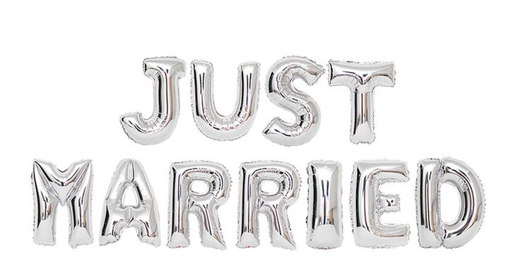JUST MARRIED Silver Mylar Foil Balloons set Wedding Party Supplies Decorations…