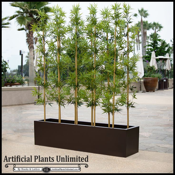 "Outdoor Artificial Bamboo in Modern Fiberglass Planter 72""L. Easily create privacy outside!"