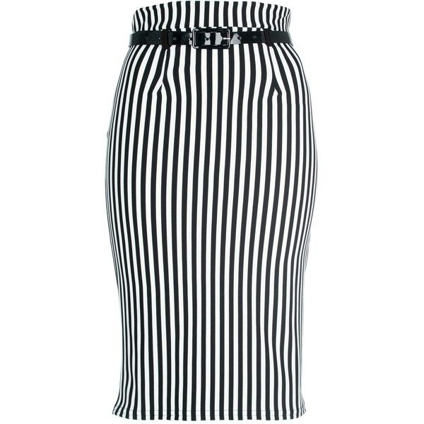 Monochrome Striped Pencil Skirt ($16) ❤ liked on Polyvore featuring skirts, clothes / skirts, pleated denim skirt, knee length pencil skirt, print pencil skirt, knee length denim skirt and pleated pencil skirt