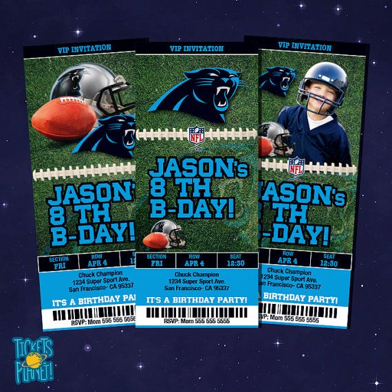 Carolina Panthers Tickets Birthday Invitation Card Carolina by TicketsPlanet on Etsy, $12.00- Carolina Panthers - With Child's Picture