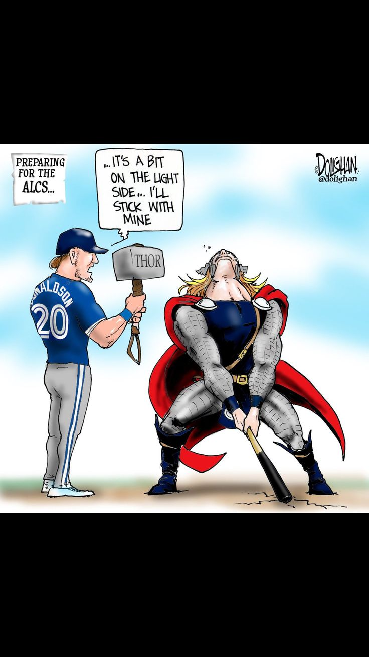 Josh Donaldson cartoon. Toronto Blue Jays. MLB. Baseball. 2016 ALCS. Cleveland Indians. Thor. The Avengers.