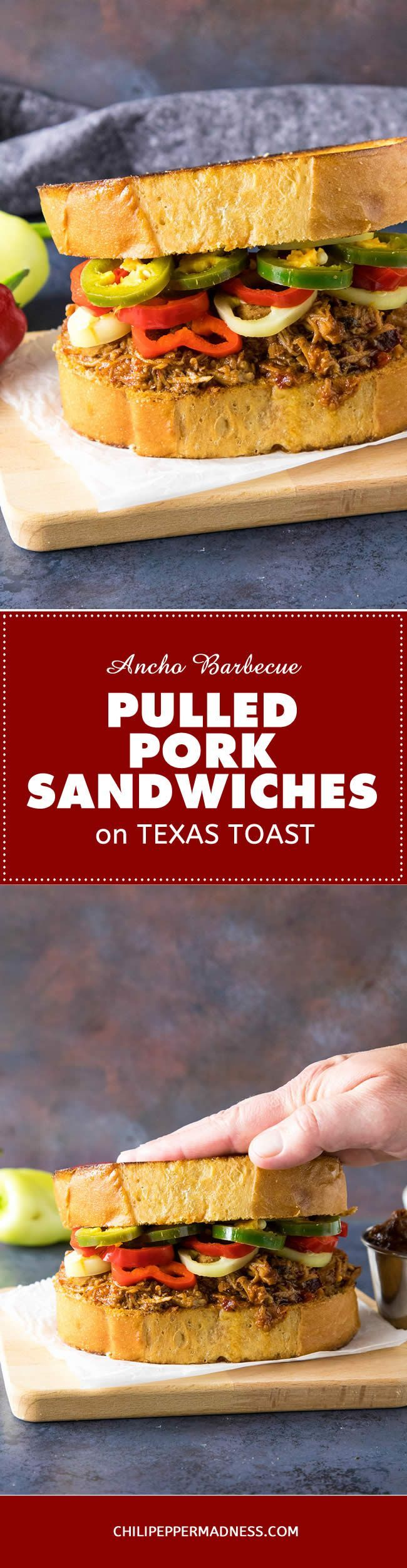 Ancho BBQ Pulled Pork Sandwich on Texas Toast – Get your favorite pulled pork going for this recipe loaded with juicy pork, homemade ancho bbq sauce, and quick pickled peppers served up a Texas toast. | ChiliPepperMadness.com  #bbq #pulledpork #barbecue #recipe #recipeoftheday #recipeideas #recipesharing #chilipeppermadness #spicyfood #spicylife #delish #tasty #foodblogeats #dinner #spicy #recipes #ilovecooking