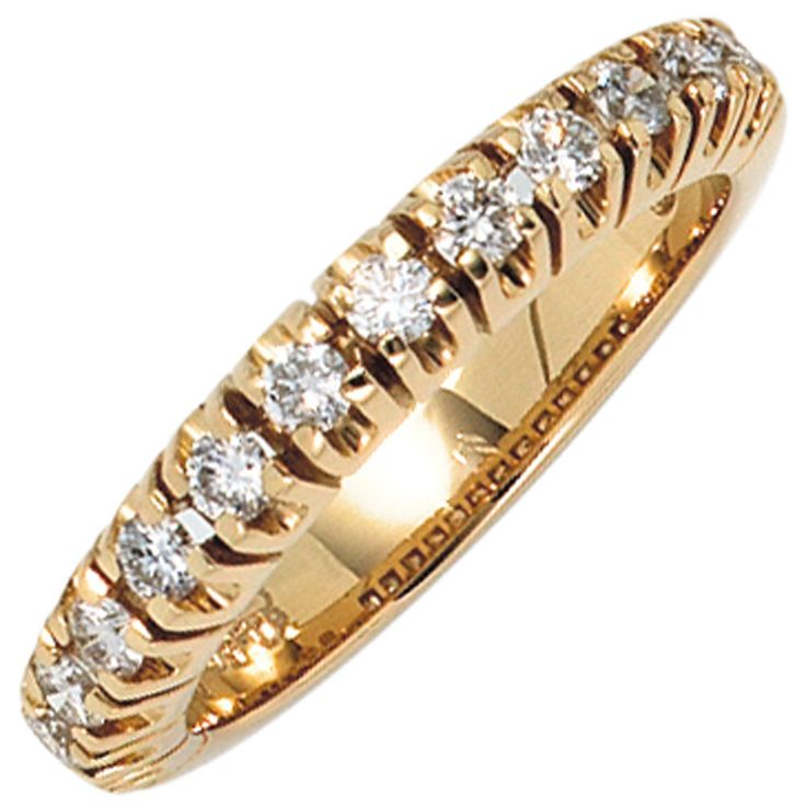 Damen Ring 585 Gold Gelbgold 13 Diamanten Brillanten 0,50ct. Goldring A38565 56