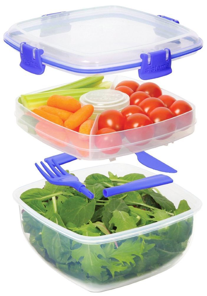 Quick Lunch Kit 37 Oz Salad to Go Container BPA Free Microwave Safe FAST SHIP!  #Sistema