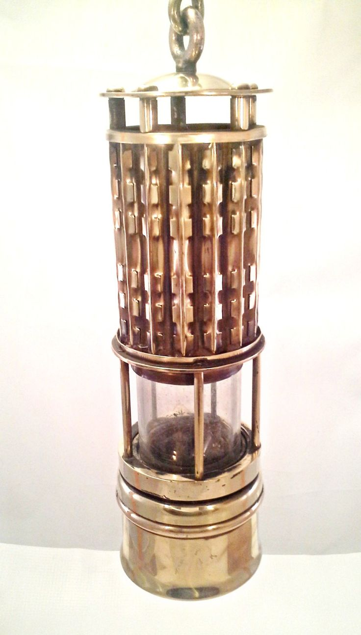 Antique Vintage Brass Miners Safety Lantern 1921 Wolf Safety