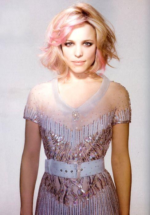 pink hair done right #rachelmcadams