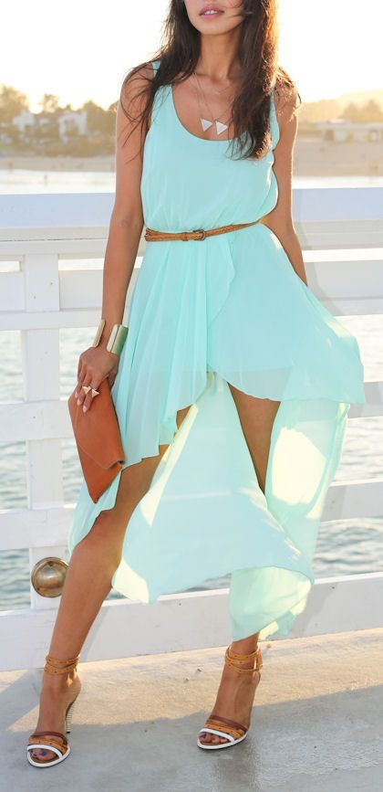 Mint Swallowtail Chiffon Dress ღ