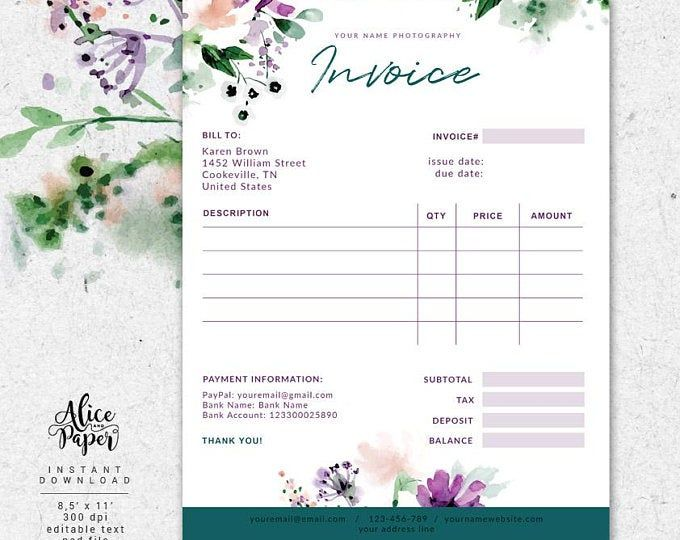 Invoice Template Photography Invoice Receipt Template For Photographers Business Invoice Photography Forms Photoshop Template Psd File In 2021 Photography Invoice Invoice Template Colorful Business Card